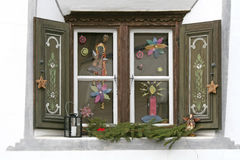 Window with christmas decoration Stock Images