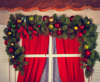 Window with Christmas decorations Stock Image