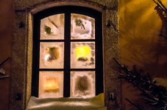 Window at christmas time Royalty Free Stock Photos