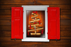 Window and Christmas Tree Stock Photo