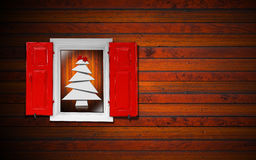 Window and Christmas Tree Royalty Free Stock Image