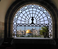 Window Church Dominus Flevit. Dominus Flevit is a Roman Catholic church located on the Mount of Olives immediately facing the Old City of Jerusalem Stock Images