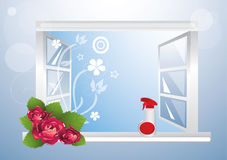 Window cleaner. Open window and glass clenaer vector illustration