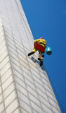 Window Cleaner. On very high building Royalty Free Stock Photo