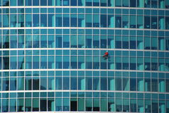 The window cleaner on a building facade the Moscow City. The Moscow international business center Moscow City (MMDTs Moscow City) — the business area under Royalty Free Stock Images