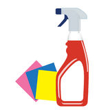 Window cleaner detergent in plastic bottle with spray. Vector Royalty Free Stock Images