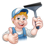 Window Cleaner Holding Squeegee. A window washer cleaner handyman cartoon character holding a squeegee and giving a thumbs up royalty free illustration
