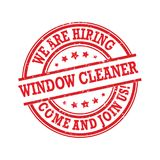 We are hiring window cleaners. Come and join us!- stamp / label Stock Photography