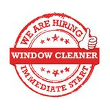 We are hiring window cleaner. Immediate start!- stamp / label Stock Images