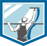 Window Cleaner Washer Worker Shield Retro. Illustration of a window washer cleaner cleaning a window with squeegee viewed from rear angle set inside shield on royalty free illustration