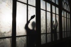 Window cleaner washing glass. Window cleaner washing muddy glass Stock Image