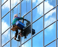 Window cleaner at work Stock Photography