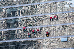 Window cleaners in Beijing, China Royalty Free Stock Photo