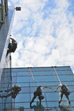 Window cleaners on office building, photo taken 20.05.2014. Professional, window cleaners alpinist climber, washing windows on business building, photo taken 20 Royalty Free Stock Photos