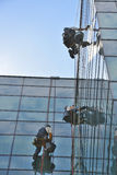 Window cleaners on office building, photo taken 20.05.2014 Stock Image