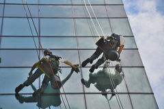 Window cleaners on office building, photo taken 20.05.2014 Stock Photo
