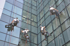 Window cleaners on office building, photo taken 20.05.2014 Royalty Free Stock Photos