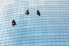 Window cleaners at work. Window cleaners hanging on rope at work on skyscraper Royalty Free Stock Photos