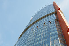 Window cleaners work on building Royalty Free Stock Photo