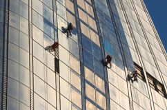Window Cleaners Working on a new Skyscraper `The Vase` in Southwark London. June 2018. Window Cleaners prepare the new `One Blackfriars` Southwark London, also stock photo