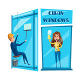 Window cleaning cartoon icon set design Stock Images