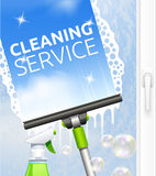 Window cleaning illustration Royalty Free Stock Photo