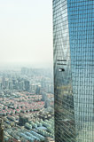 Window cleaning in Shanghai. Window cleaning is not easy. But to clean one of the highest skyscrapers in Shanghai, the Shanghai World Finanacial Center,  you Royalty Free Stock Images