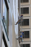 Window cleaning on skyscraper Stock Image