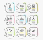 Window cleaning, Washing cleanser and Shampoo icons. Dishwasher timer, Rubber gloves and Plunger signs. Vector. Infographic timeline set of Window cleaning vector illustration