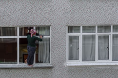 Window cleaning woman Royalty Free Stock Photos