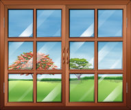 A window with clear glasspanes Stock Photos