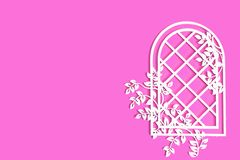 A window with climbing flowers on a pink background, place for text vector illustration
