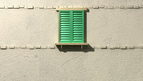 Window With Closed Green Shutters Front Royalty Free Stock Photos