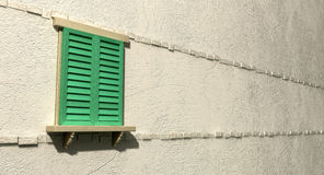 Window With Closed Green Shutters Perspective Royalty Free Stock Photos
