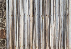 Window closed by many thin planks of wood consumed by the salt Royalty Free Stock Images