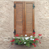 Window with closed shutters and flowers Stock Photography