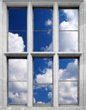 Window with cloud. Greater white cloud peer out window Royalty Free Illustration