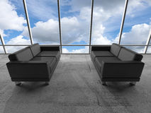 Window with clouds and black leather sofas. 3 d Stock Photos