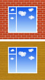 Window with clouds on wall Stock Photography