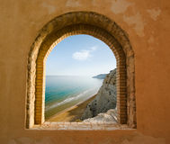 Window on the coastal landscape of a bay Stock Photography