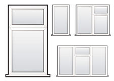 Window collection. White plastic double glazed window illustration collection concept vector illustration