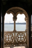 Window with collums and details of artwork. On Torre de Belém, Lisbon Stock Photo
