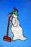 Window color snowman Stock Photography