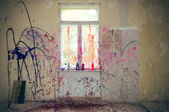 Window with color splashes Stock Images
