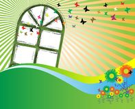 Window and colored butterflies. Abstract illustration with colored flowers and butterflies flying out from a window stock illustration