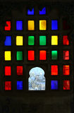 Window with colored glasses in Udaipur City Palace Royalty Free Stock Image