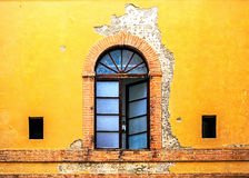Window on Colorful Wall in Siena Italy Royalty Free Stock Images