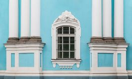 Window and columns on facade of St. Nicholas Naval Cathedral Royalty Free Stock Images