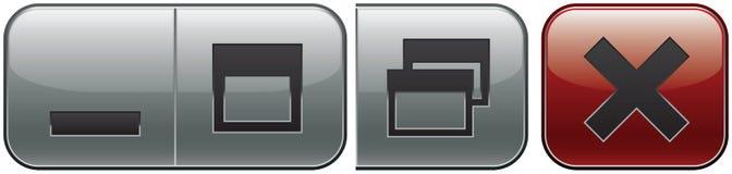Window controls. Set - minimize, maximize, restore down and close Stock Images