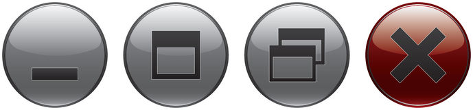 Window controls. Set - minimize, maximize, restore down and close Royalty Free Stock Photos